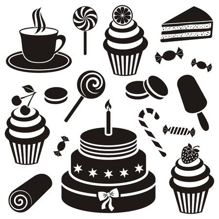 Black desserts and sweets icon vector silhouette collection