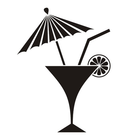 Black summer cocktail silhouette with lemon and parasol