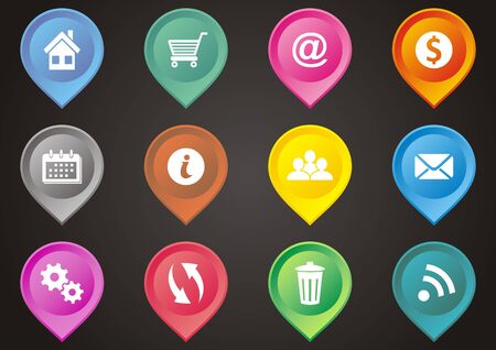 Set of colorful map pointers with web icons