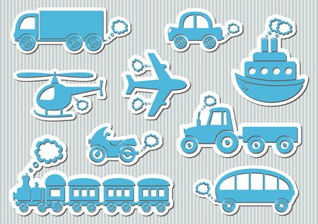 puffing: Set of cute blue means of transport icons Illustration