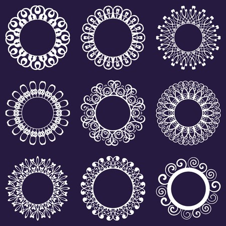 white napkin: Set of nine white beautiful napkin lace designs