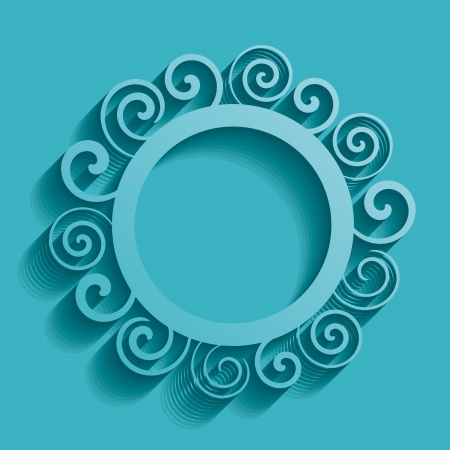 Turquoise vector vintage background with rounded spiral ornament
