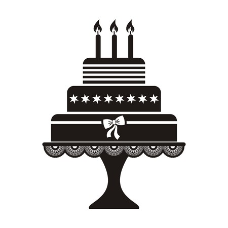 cakes background: Vector illustration of black silhouette birthday cake icon