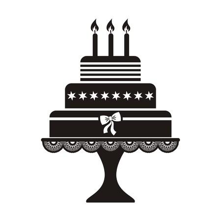 Vector illustration of black silhouette birthday cake icon