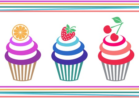frosted: Vector illustration of three isolated colorful fruit cupcakes Illustration