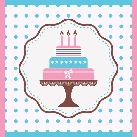 cakes background: Beautiful vintage happy birthday card with cake