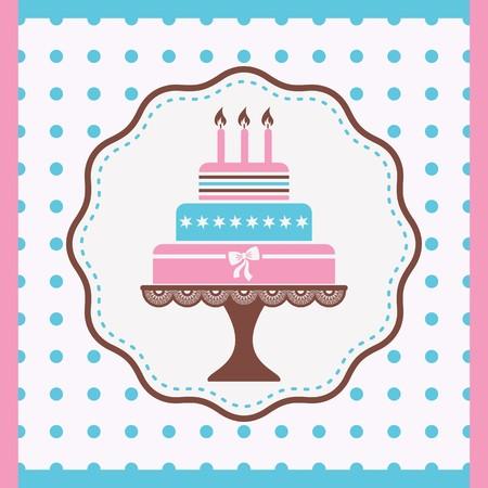 bright cake: Beautiful vintage happy birthday card with cake