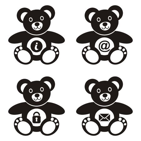 computer art: Four cute black teddy bears with web icons