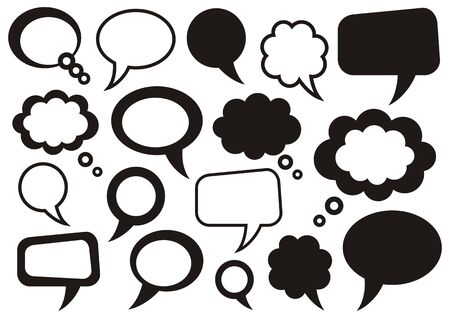 Set of vector black speech and thought bubbles