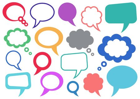 Set of vector colorful speech and thought bubbles
