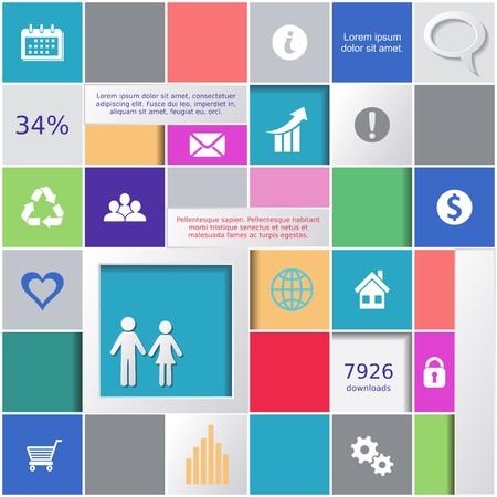 Abstract background with colorful squares and infographic icons Ilustracja