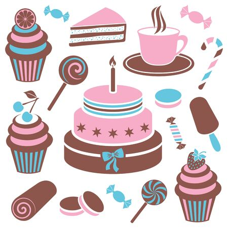 cup cake: Colorful desserts and sweets icon vector silhouette collection