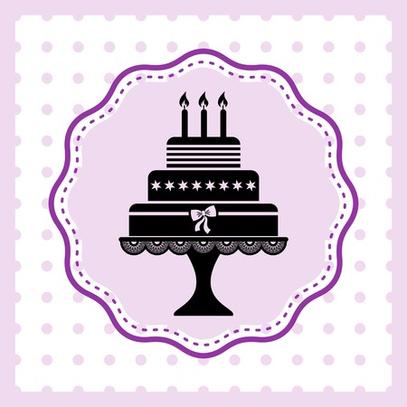Beautiful vintage happy birthday card with cake silhouette Illustration