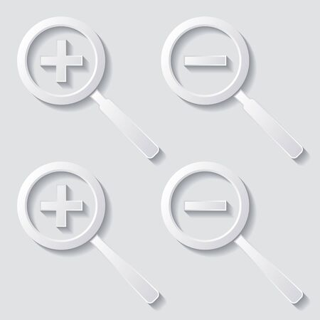 Set of four white zoom icons with shadows