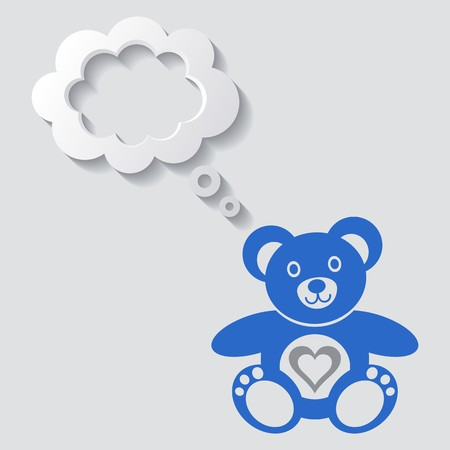 Cute teddy bear icon with white thought bubble Vector