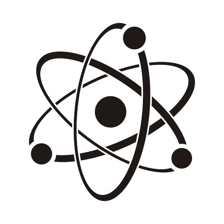 Black vector illustration of atom icon on white