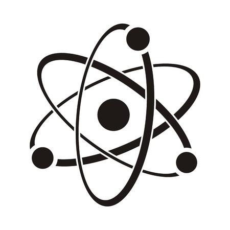 Black vector illustration of atom icon on white