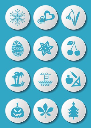 Blue calendar month symbols collection on white buttons Vector