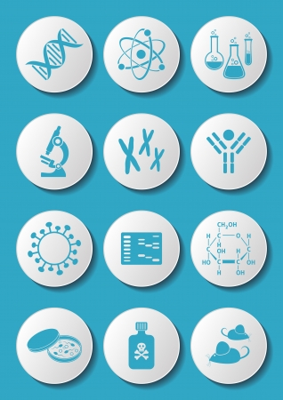 Blue molecular biology science icons on white buttons Illustration
