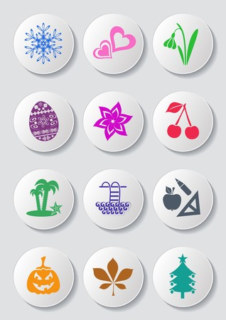 Colorful calendar month symbols collection on white buttons Ilustracja