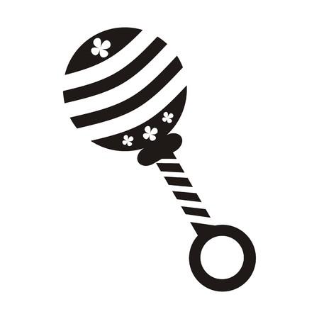 sonaja: Icono lindo sonajero negro sobre fondo blanco