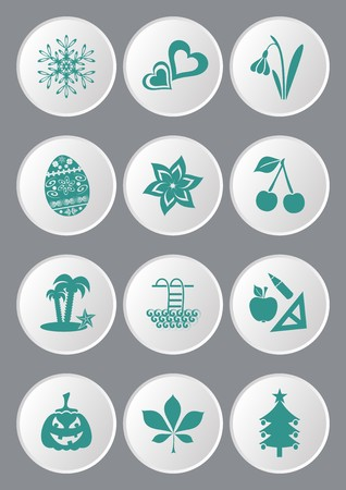 Green calendar month symbols collection on white buttons Vector