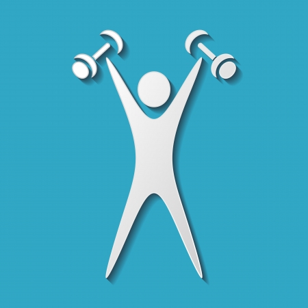 weight gain: White exercising figure with dumbbells on blue background Illustration