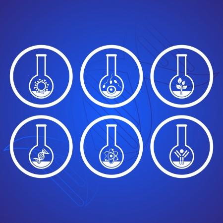 biologia molecular: Blanco iconos de la ciencia de la biolog�a molecular en tubos de ensayo