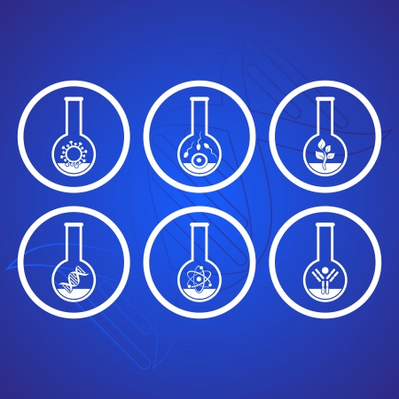 White molecular biology science icons in test tubes Vector