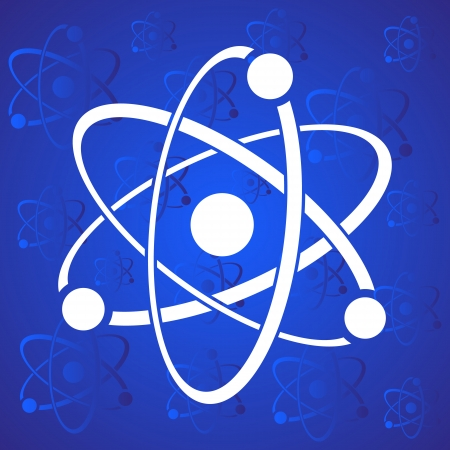 White vector atom icon on blue stylized background Illustration
