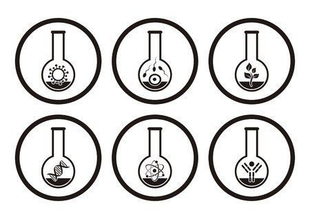Black molecular biology science icons in test tubes Vector