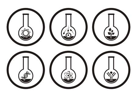 biologia molecular: Negro iconos de la ciencia la biolog�a molecular en los tubos de ensayo Vectores