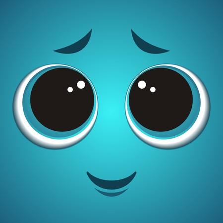 Cute shy turquoise cartoon monster face vector illustration Illustration