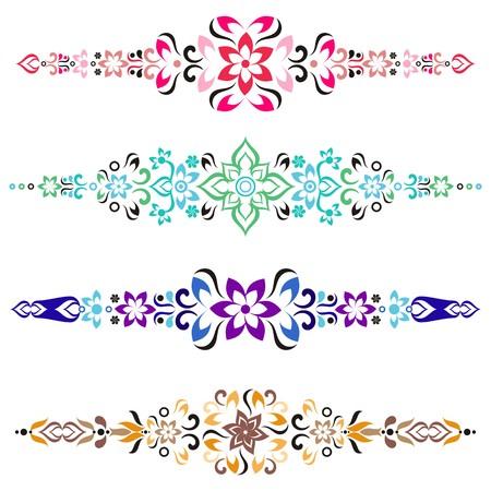 Set of colorful vintage ornamental elements