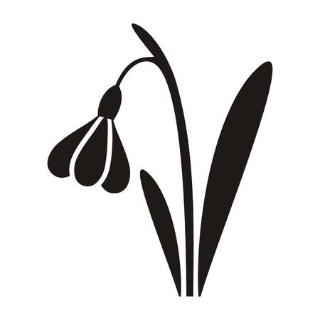 snowdrop: Illustration black snowdrop silhouette icon easter symbol Illustration