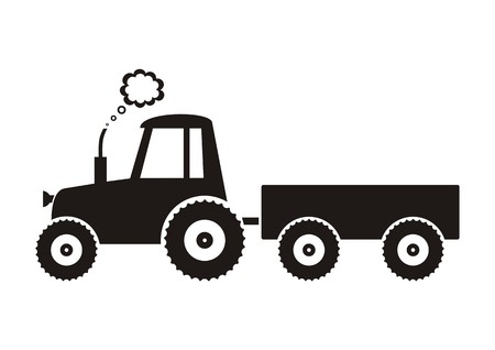 Illustration black tractor icon on white background Illustration