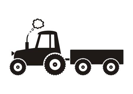 Illustration black tractor icon on white background Illustration