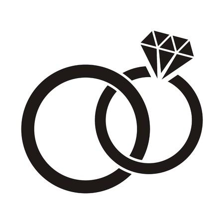 esküvő: Ábra fekete jegygyűrűt ikon, fehér, háttér