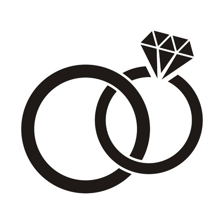 Illustration black wedding rings icon on white background Vectores