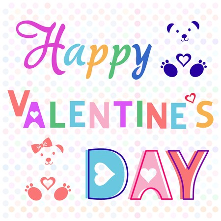 Illustration happy valentine day card with colorful teddies Vector
