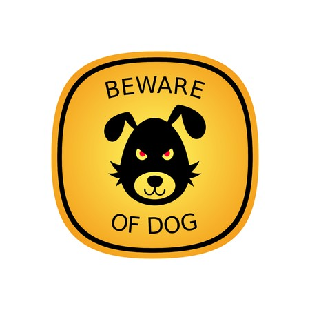 hostile: Beware of the bad dog orange sign vector illustration