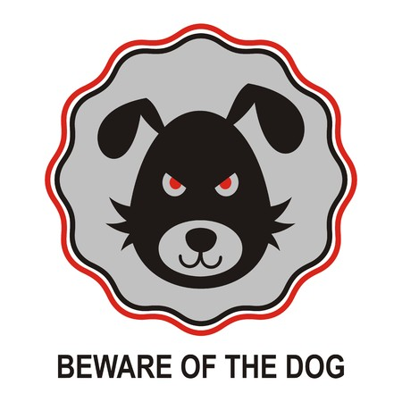 beware of the dog: Beware of the bad dog sign vector illustration