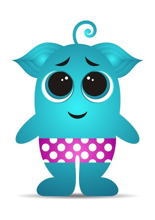 Little cute shy turquoise cartoon monster with pants Vector