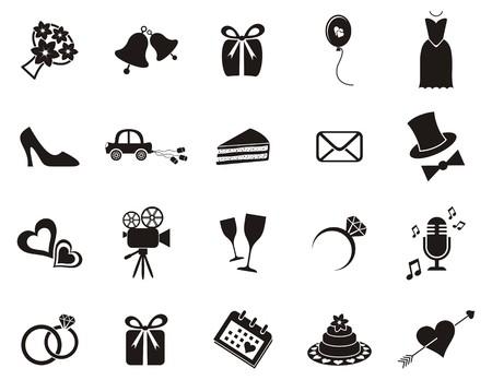 bröllop: Set med svart silhuett ikoner för bröllop inbjudningar Illustration