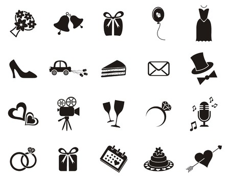bell flower: Set of black silhouette icons for wedding invitations