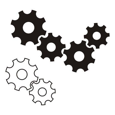 Zwarte vector tandwielen pictogram op een witte achtergrond