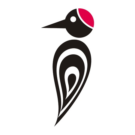 Black vector stylized woodpecker icon with red cap Illustration