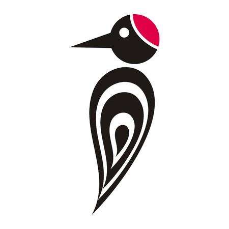 p�jaro carpintero: Vector icono negro p�jaro carpintero estilizado con tapa de color rojo Vectores