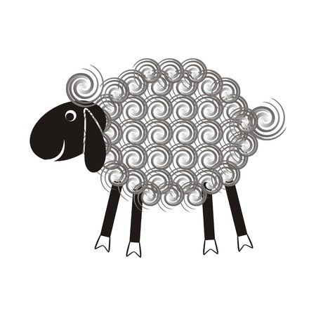 mohair: Cute sheep with black head and wool spirals Illustration