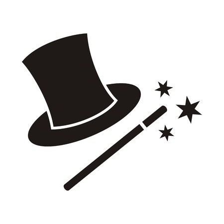 Magic wand and hat isolated on white background Vector